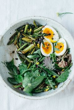 balsamic-roasted asparagus salad w/ fried capers & 7-minute eggs
