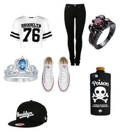 """Untitled #40"" by x5sauceloverx on Polyvore featuring Boohoo, MM6 Maison Margiela, Converse, Disney and New Era"