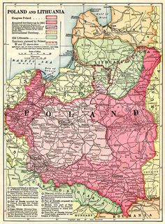 """1921 Funk & Wagnall's """"Poland and Lithuania,"""" showing unsettled boundaries. Old World Maps, Old Maps, Vintage World Maps, Poland History, Central Europe, European History, Historical Maps, Lithuania, Eastern Europe"""