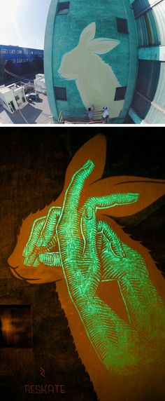 Fun Murals by Reskate Contain Hidden Glow-In-The-Dark Surprises