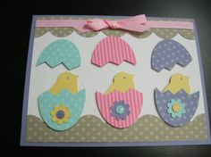 Easy Peeps from Liz Keehn, a Stampin' Up! demonstrator.  Just a large oval punch and the bird punch make an egg and a chick.
