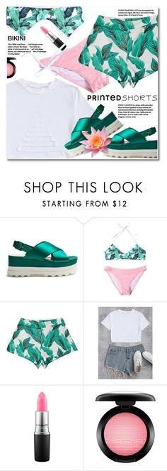 """printed shorts"" by svijetlana ❤ liked on Polyvore featuring Miu Miu, MAC Cosmetics, printedshorts and zaful"