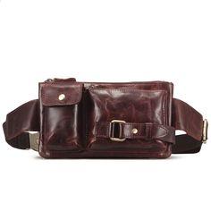 64668a7fbcf6f Darmowa wysyłka Mężczyzna Nowy Prawdziwej Skóry Fanny Talia Hip Bum Belt  Plecak Clutch Bag Tornister Krzyż