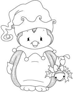 Christmas penguin with bell - Christmas Drawings 🎅 Penguin Coloring Pages, Christmas Coloring Pages, Coloring Book Pages, Coloring For Kids, Christmas Drawing, Christmas Paintings, Christmas Colors, Christmas Art, Xmas