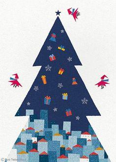 Christmas tree illustration by Ryo Takemasa Merry Christmas, Christmas Poster, Winter Christmas, Christmas Time, Vintage Christmas, Christmas Crafts, Winter Illustration, Tree Illustration, Christmas Illustration