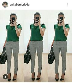 Green blouse, Pattern trousers, Black shoes and bag - Work Outfit Casual Work Outfits, Business Casual Outfits, Professional Outfits, Mode Outfits, Work Attire, Office Outfits, Work Casual, Chic Outfits, Fall Outfits