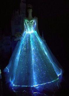 Vestido LED luz de fibra óptica Princesa Cenicienta