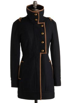 Reminiscent of early 20th century military jackets - particularly Russian (well, at least to me)