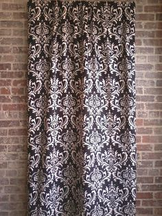 "Black and White Damask Curtain Panels One Set 64"" Long Two Curtain Panels"