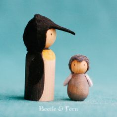 Penguin and Chick Waldorf Inspired Peg Dolls by BeetleAndFern