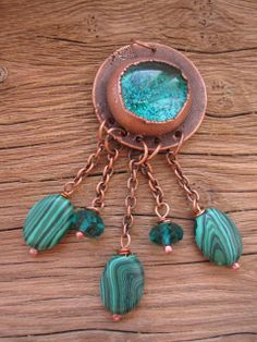 Маша - Copper green pendant  by Mary Bulanova.