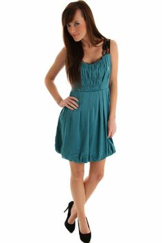 Amazon.com: DHStyles Women's Glossy Satin and Lace Bubble Dress: Clothing