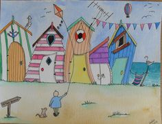 BEACH HUTS Watercolour & Pen Original Art by BetsyandGeorge