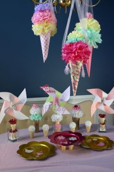 Ice cream party tablescape