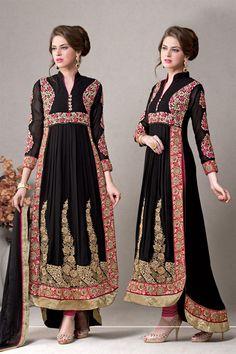 Black Anarkali Salwar Kameez with Embroidery
