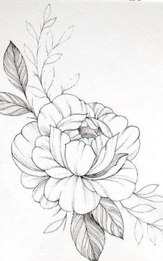 Flower Sketches, Art Drawings Sketches, Easy Drawings, Tattoo Drawings, Drawing Art, Flower Tattoo Designs, Flower Tattoos, Easy Flower Designs, Muster Tattoos
