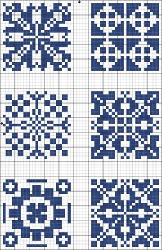 Blue tiles 02 | Free chart for cross-stitch, filet crochet | gancedo.eu