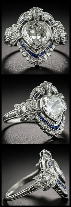 All views of an Edwardian sapphire and diamond ring with a 1.20 carat heart shaped center diamond. At Lang Antiques.