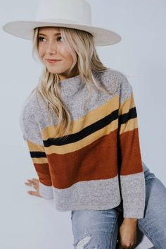 Kathleen Stripe Sweater 2019 Stripe Sweater Outfit Ideas For Fall Winter Sweater Outfits, Fall Sweaters, Fall Winter Outfits, Autumn Winter Fashion, Striped Sweaters, Winter Dresses, Sweater Fashion, Big Sweater Outfit, Casual Winter