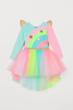 Leotard in glossy jersey with a printed motif. sleeves, glittery elastic waistband, and skirt in double layers of tulle. Detachable wings at back Pink Dresses For Kids, Kids Dress Wear, Baby Dress, Unicorn Fashion, Unicorn Dress, Toddler Girl Outfits, Leotards, Bunt, Tulle