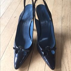 Marc Jacobs Vintage black sling backs Beautiful pair of vintage pointed toe sling backs in size 40, but I'm a 9 and it fits me perfectly. A bit of scuffing on the back of one of the heels (shown in the last photo) Marc Jacobs Shoes Heels