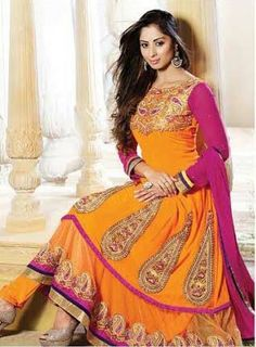 Pink and Orange Designer Georgette Anarkali with heavy work of Embroidery en-crafted on the top and the Bottom. Along with Matching Shantoon Bottom and Chiffon Duppatta.