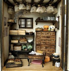 Traditional oriental Herbal Medicine Shop- handmade Dollhouse Miniatures. DollhouseAra. Etsy