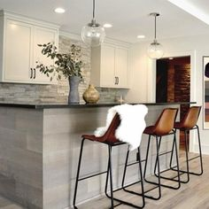 Gray Oak Kitchen Island with Leather Counter Stools - Transitional - Kitchen