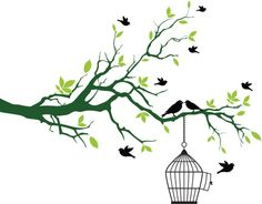 Spring Tree With Birdcage And Kissing Birds Vector Art 154189108 | Thinkstock