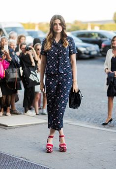 To make your pajama-inspired outfit daytime appropriate, wear a pair of heels.
