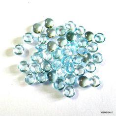10 piece 3mm Sky Blue Topaz Round Cabochon Gemstone