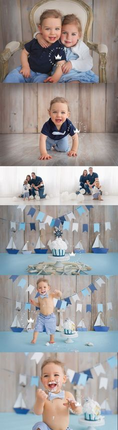 A classic nautical first birthday cakesmash sneak peek for L! | Heidi Hope Photography
