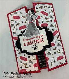Tina's Crop Shop: Stampin' Up! Playful Pets Suite, Pampered Pets Bundle, Playful Pets DSP, Dog Themed Card, DIY Handmade Cards, Card Ideas Dog Cards Handmade, Handmade Birthday Cards, Handmade Bookmarks, Cat Cards, Kids Cards, Cards Diy, Fancy Fold Cards, Folded Cards, Pet Sympathy Cards