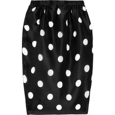 Prabal Gurung Cutout polka-dot silk-gazar pencil skirt ($365) ❤ liked on Polyvore featuring skirts, bottoms, saias, black, knee length pencil skirt, ruched pencil skirt, gathered skirt, polka dot pencil skirt and pencil skirt
