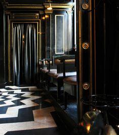 Open Plan in The Wolseley by David Collins Studio on Bathroom Interior Design, Interior Decorating, The Wolseley, Parisian Kitchen, David Collins, Glossy Paint, Wall Art Decor, Bulb, Restaurant