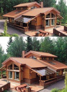 27 creative deck patio design 19 – de is gardening Rustic Home Design, Dream Home Design, Modern House Design, Kerala House Design, Patio Design, Exterior Design, Design Table, Garden Design, House In The Woods