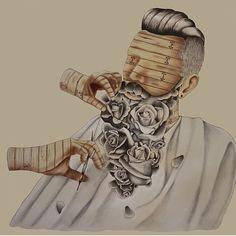 Beard art by ellyd - roses beard beards bearded man men trim barber artwork #beardsforever