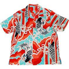 赤い滝を昇る黒い鯉、Vintage長襦袢地のアロハシャツ