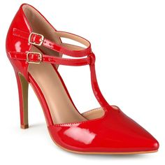 Women's Journee Collection Tru Classic T-Strap Pumps - Red 9