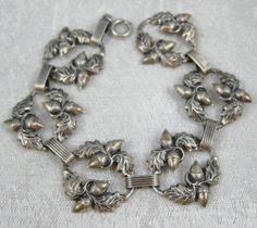 Danecraft acorns oak leaves art nouveau Danecraft bracelet