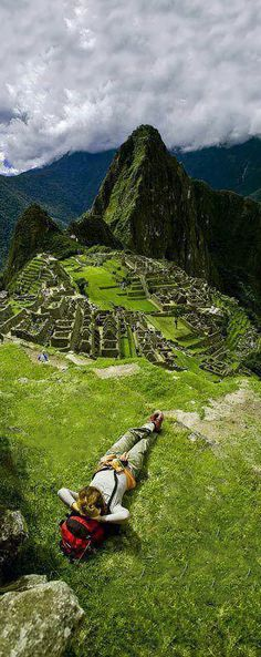 Enjoying Machu Picchu