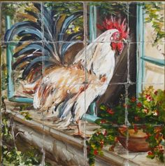 Welcome to Tre Sorelle Studios Online Shop! Please allow days for Giclee Print orders and Printed Tile Murals. Ceramic Rooster, Rooster Art, Rooster Painting, Rooster Kitchen Decor, Rooster Decor, Kitchen Art, Country Kitchen Designs, French Country Kitchens, Country French