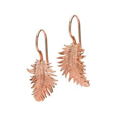 Dower & Hall-18ct Rose Gold Vermeil Feather Drop Earrings- £75