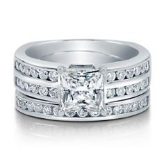 Princess CZ 925 Sterling Silver Solitaire 2-Pc Bridal Ring Set 1.59 Ct  style number: r722  $79.99