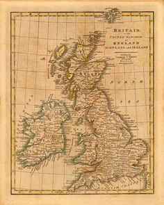 Vintage 1821 Map of The United Kingdom