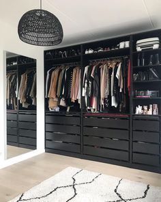 A round-up of the best closet makeovers using the IKEA Pax system with hacks to make it look custom and solutions for creating the most functional closet. Wardrobe Room, Wardrobe Design Bedroom, Master Bedroom Closet, Wardrobe Storage, Closet Renovation, Closet Remodel, Walk In Closet Design, Closet Designs, Ikea Pax Closet