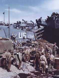 US Army CCKW 2 cargo truck with Browning machine gun preparing to be loaded aboard an LST prior to the Normandy invasion, southern England, Jun photo 1 of 2 D Day Normandy, Normandy Beach, Normandy Invasion, D Day Landings, Ww2 Pictures, Color Pictures, History Online, History Education, France
