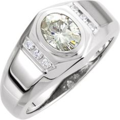 66521 / 14kt White / 08.00X06.00MM(1 1/2CT)/1/8CTW / Polished / CREATED MOISS & DIA GENTS RING