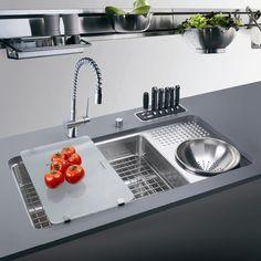 "Franke 34.06"" x 17.75"" Culinary Work Center Kitchen Sink with Drain Board"