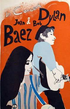 Joan Baez and Bob Dylan 1965 East Coast tour poster by artist Eric Von Schmidt #Rock